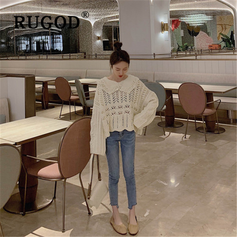 RUGOD Knitted sweater women Korean chic peter pan collar hollow out auturm loose sweater female Fashion long sleleve streetwear in Pullovers from Women 39 s Clothing