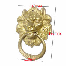 1Pcs Vintage Brass Die Casting Lion Head Knocker Solid Wood Villa Courtyard Gate Door Ring Handle Pulls Knob Decoration(China)