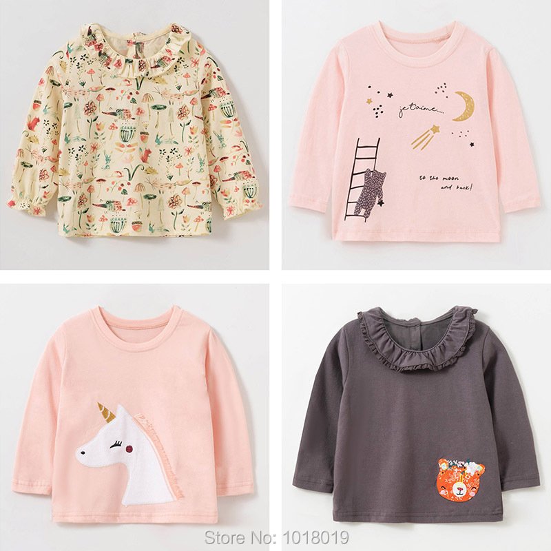 Brand 100% Cotton Baby Girls t shirts 1-7Y Kids Clothing Clothes Children Long Sleeve t-shirt Girls Blouses Undershirt Tops 2020 3