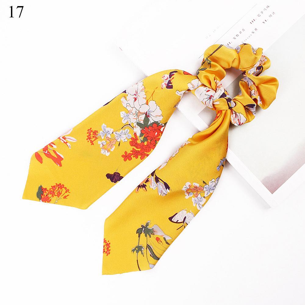 Bohème grande fleur chouchous longs banderoles arc cheveux écharpe femmes filles doux cheveux corde cravates mode cheveux accessoires chapeaux 26