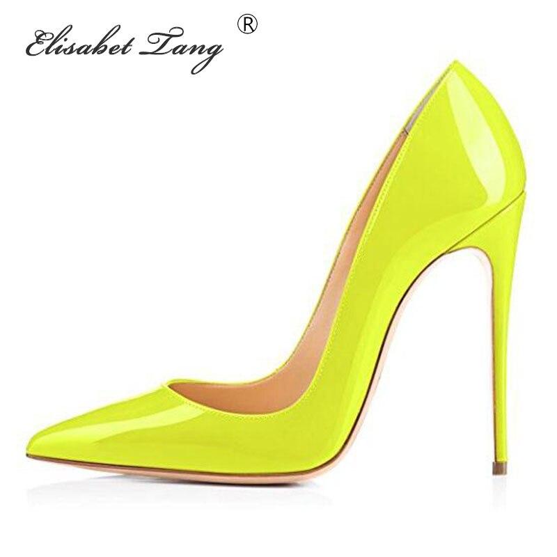 ElisabetTang Neon Yellow 10/12CM High Heels Shoes Women Pumps Sexy Party High Heels Shoes Big Size Escarpins Sexy Hauts Talons