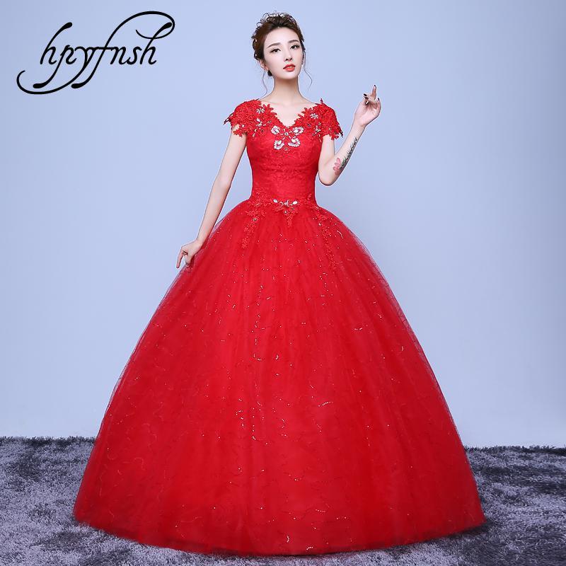 New Fashion simple off White Red V-Neck Vestidos De Novia 2020 Wedding Dress Elegant brides luxury lace Gowns robe de mariage