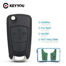 Keyyou pcf7941/pcf7946 chave de controle remoto 2/3 botões para opel vauxhall astra h 2004-2009 zafira b 2005-2013 vectra c 2002-2008