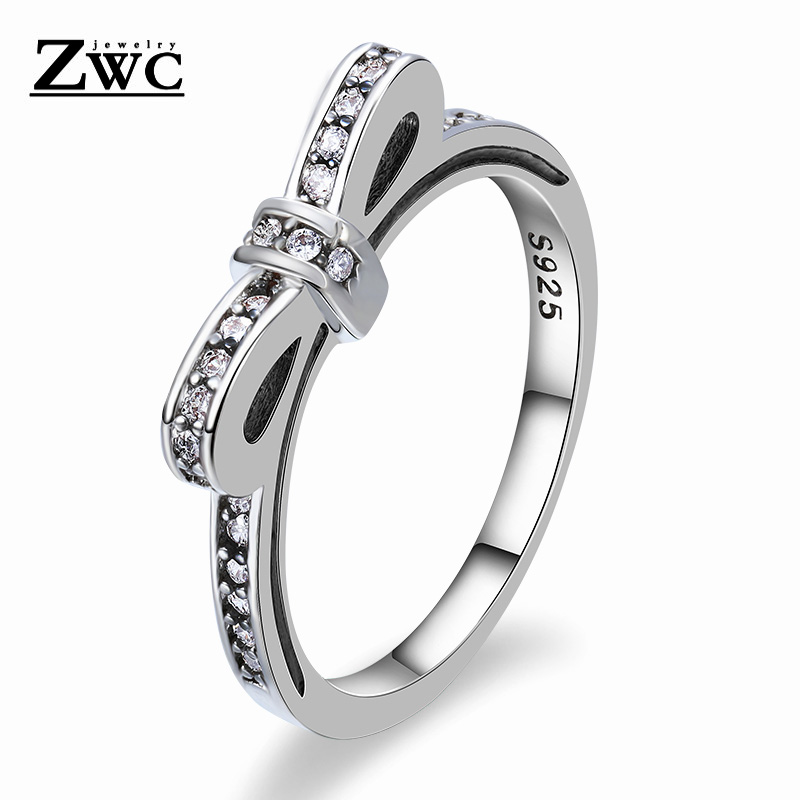 ZWC Simple Design Fashion Bow Cubic Zirconia Rings for Women Wedding Engagement Unique Shaped Sparkling Crystal Ring Jewelry