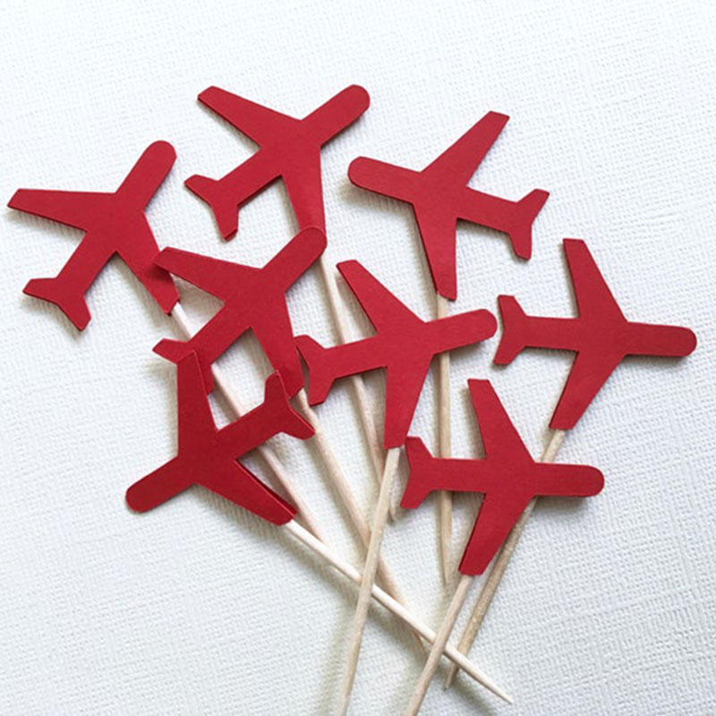 Airplane Cupcake Toppers Decorations for Kids Aircraft Themed Birthday Party Cake Decoration Supplies-set of 24 image