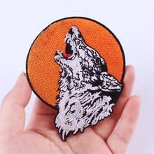 Pulaqi-Parche bordado de lobo para planchar, Parches bordados en la ropa, chaqueta Hippie, planchado, accesorios de ropa, insignias DIY
