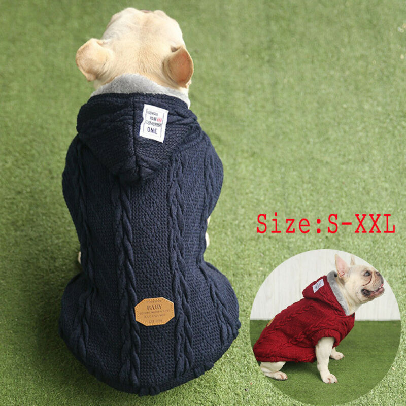 Autumn Winter Fashion HOT Pet Coat Dog Jacket Knitted Clothes Puppy Cat Sweater Coat Clothing Apparel Plus Size