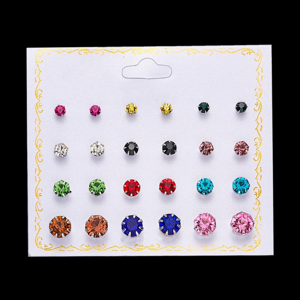 12 Pairs/set Stud Earrings Set With Card Transparent Zircon Balls Love Flowers Earrings Women Imulated Pearl Earrings Jewelry 46