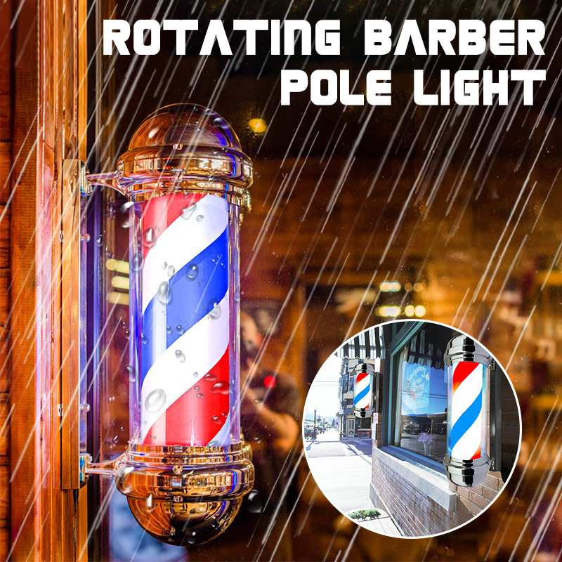 55cm Barber Shop Pole Rotating Lighting Red White Blue Stripe Rotating Light Stripes Sign Hair Wall Hanging LED Downlights
