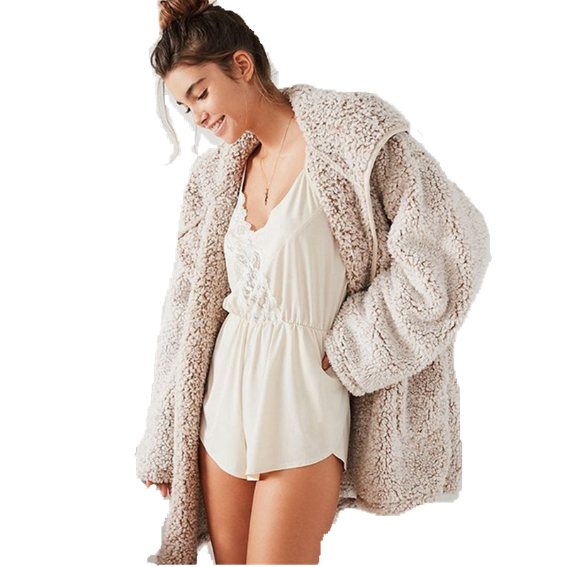 2019 Autumn and Winter Women's Thick Warm Solid Color Cardigan Hooded Fleece Casual Loose Sweatshrit Streetwear Jacket Coat