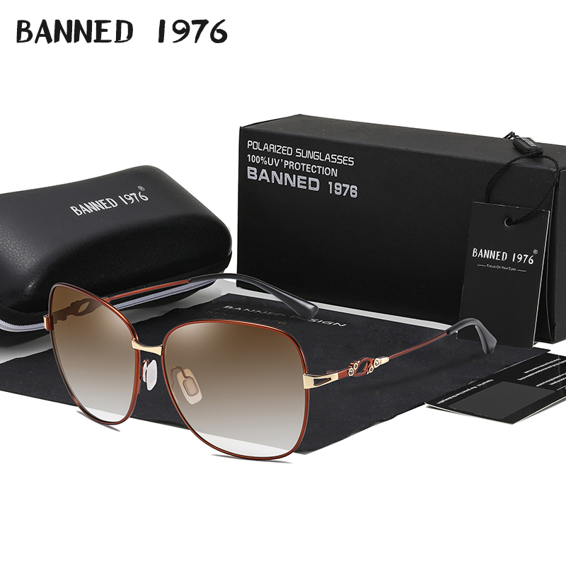NO Broken Memory Metal Frame Women's HD Polarized Fashion Sunglasses Latest Sun Glasses Lady's Driving Shades Original Ocolos