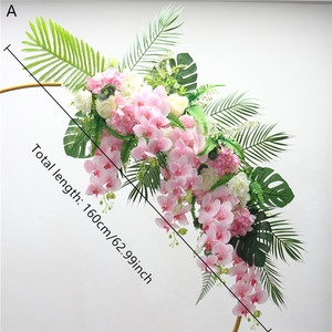 Image 4 - Homemade creative wedding arch with decor flower row DIY orchid turtle leaf rose peonies table flower garland flower arrangement
