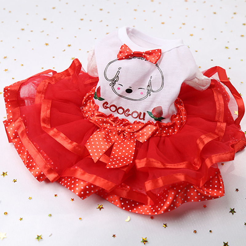 Spring Summer Dog Wedding Dress Pet Dog Clothes for Small Dog Sweet Puppy Clothing Skirt Pet Clothes Lace Bow Dog Dress XS-XXL 7