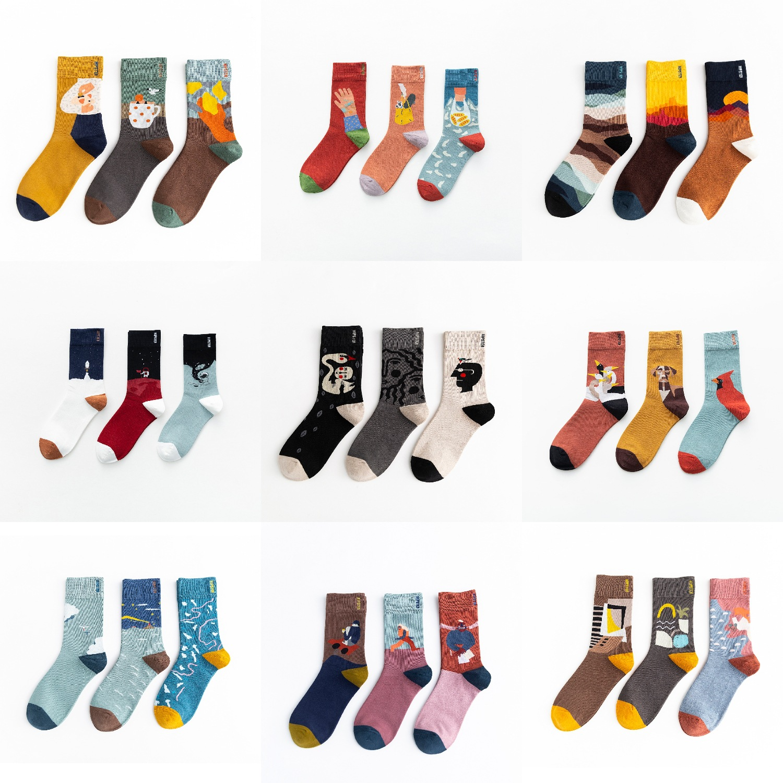 3 Pairs Crew   Socks   Mid Length Unisex Funny Cute   Socks   Gift Casual Street Wear Creative Cartoon Oil Painting   Socks   Funny   Socks