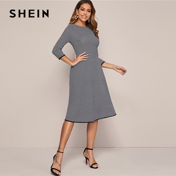 SHEIN Black And White Houndstooth Elegant Dress Without Belt Women 2020 Spring 3/4 Length Sleeve Ladies A Line Midi Dresses 2
