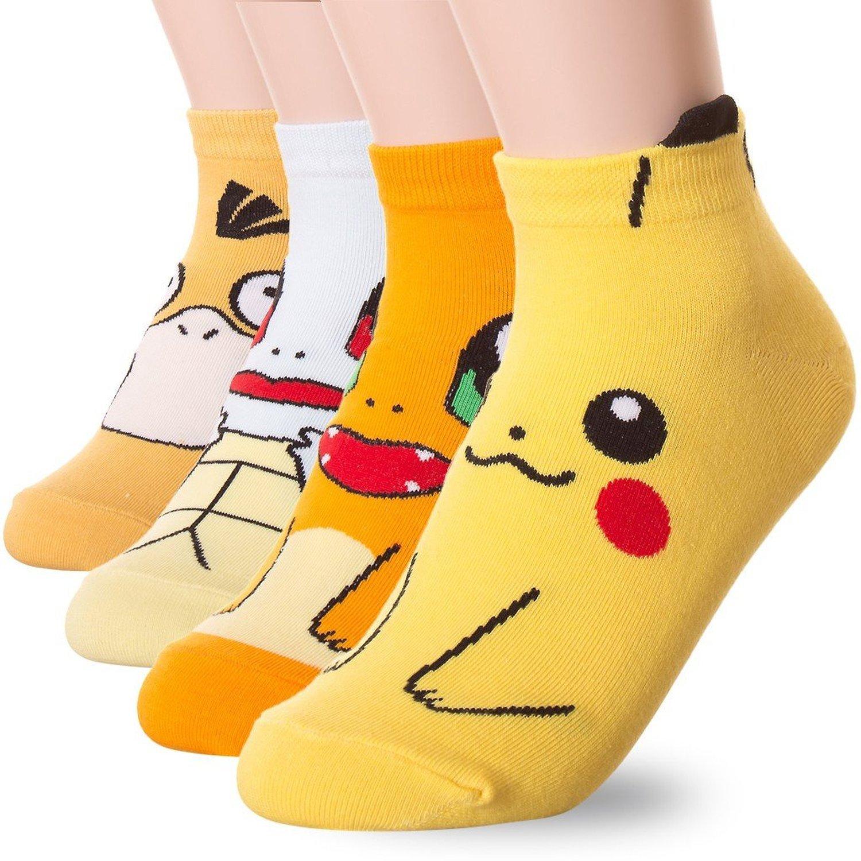 Красочные женские тапочки в стиле Харадзюку, милые короткие носки до щиколотки с изображением героев мультфильмов, покемонов, милые модные ...