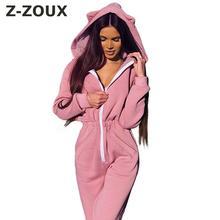 Z-ZOUX kobiety kombinezon z kapturem z długim rękawem ładna bluza pajacyki kombinezon damski wysokiej talii Plus rozmiar pajacyki jesienno-zimowa nowość tanie tanio COTTON Kombinezony Pełnej długości Na co dzień NONE Stałe Flanela REGULAR NWN-7967 black pink S M L XL