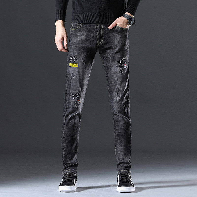 Autumn New Style With Holes Jeans Men's Trend Korean-style Elasticity Slim Fit Pants Embroidered Labeling Patch Pants Men