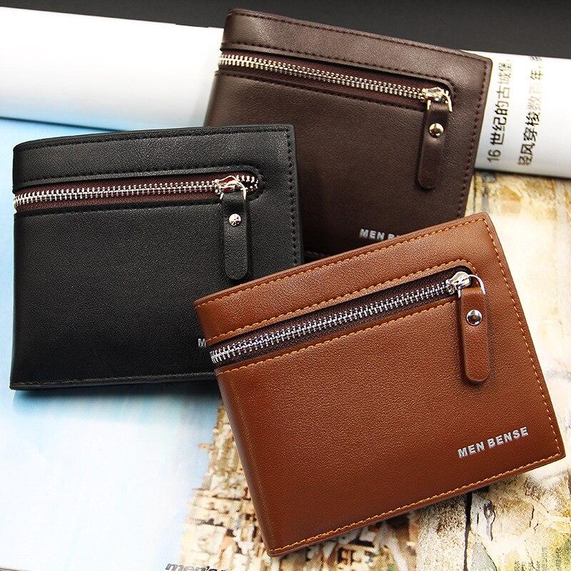 Money Clips Short Vintage Man Wallet PU Leather With Coin Pocket Zipper Male Hasp Clutch Wallet Money Men Purse Bag Men Purse