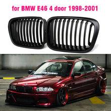 Gloss preto grade dianteira rim slat estilo grill para bmw e46 4 portas 1998 1999 2000 2001 estilo do carro