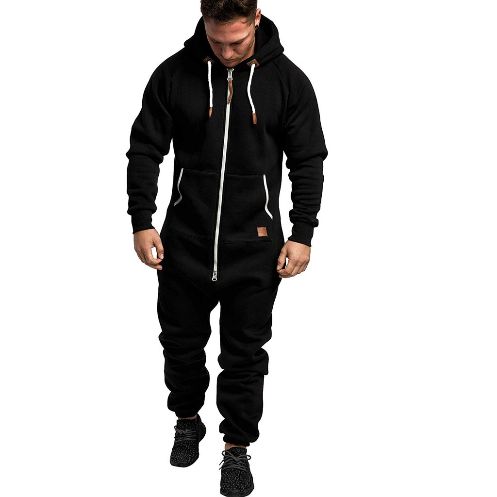 Men Pure Color Splicing Jumpsuit 2019 Autumn Winter Casual Hoodie Print Zipper Jumpsuit One Piece Playsuit Male Jumpsuits#G2