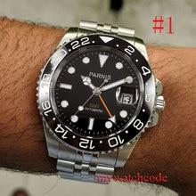 40mm PARNIS black dial Jubilee Bracelet Sapphire Crystal Ceramic bezel GMT automatic mens w
