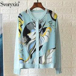 Svoryxiu 2020 diseñador Primavera Verano tejido cárdigan de las mujeres de impresión de seda colorida Patchwork fino suéter chaqueta