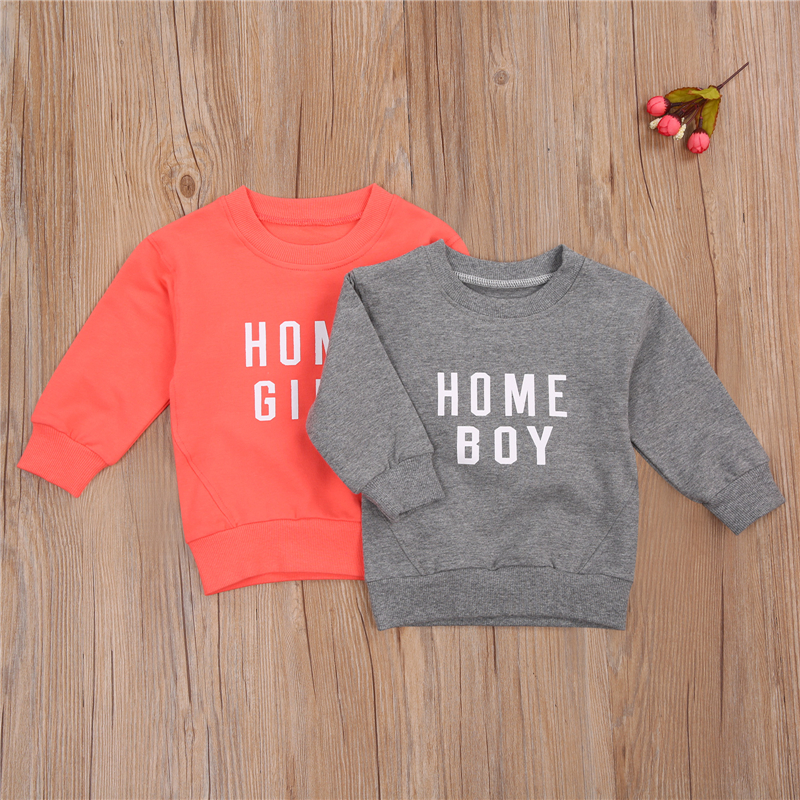 Children's Pullover Sweatshirts Kid's Clothes Letter Printed Shirt Round Neck Long Sleeve Top Infant Sweatshirt Boys Girls Tops