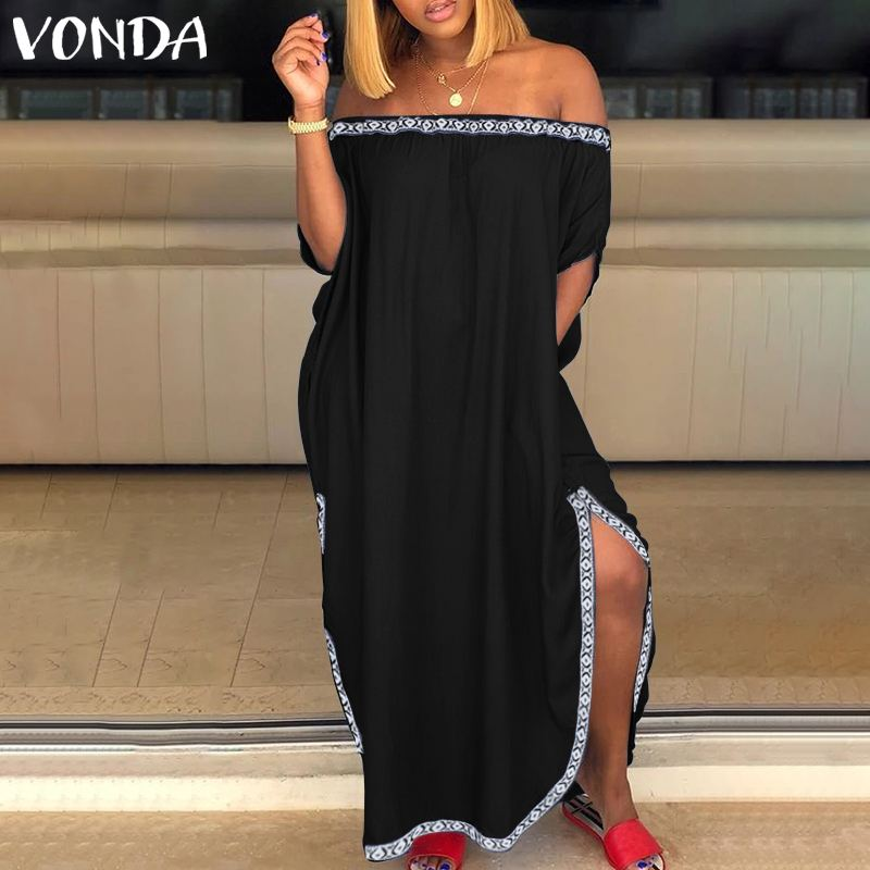 Fashion Split <font><b>Dress</b></font> 2019 VONDA <font><b>Sexy</b></font> Off The Shoulder Maxi <font><b>Dresses</b></font> Plus Size Bohemian Vestidos Loose Party Robe Femme S-<font><b>5XL</b></font> image