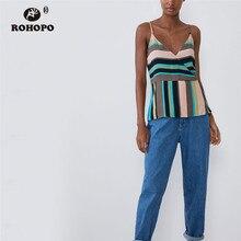 ROHOPO Rain Bow Wide Striped Spaghetti Strap Flarem Hem Top Tee Shirt Woman Holiday Chic Tops Shirts #9349