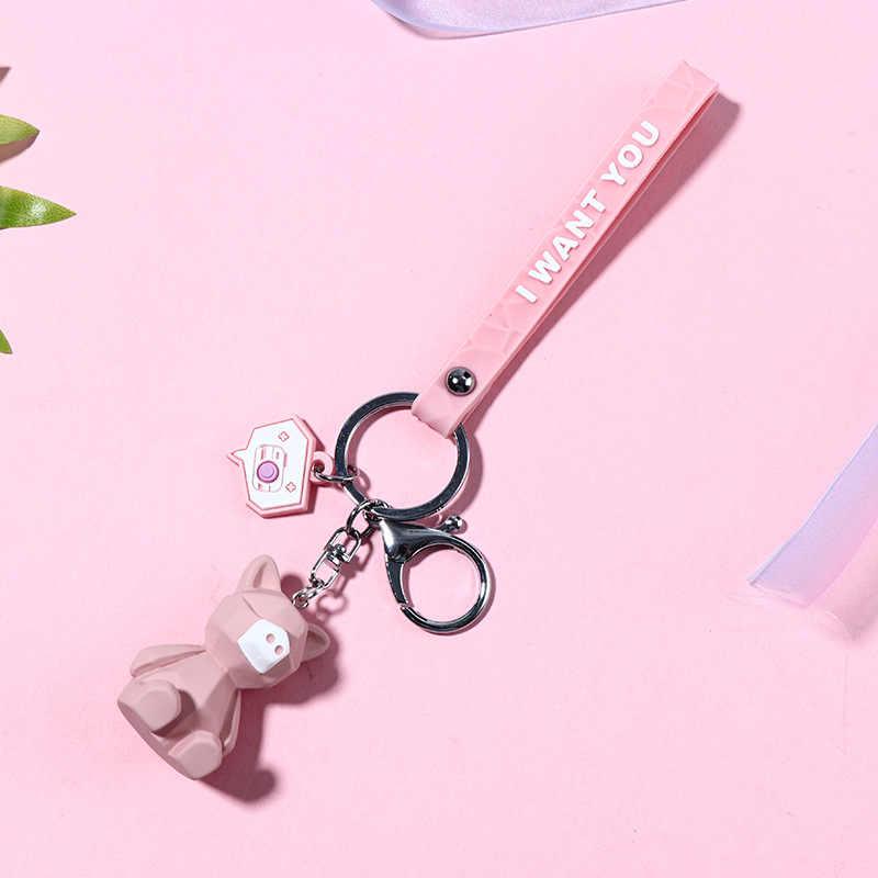 Dibujos Animados creativos geométricos facetados dinosaurio Panda muñeca llavero pareja coche llavero mochila colgante regalo lindo joyería de moda
