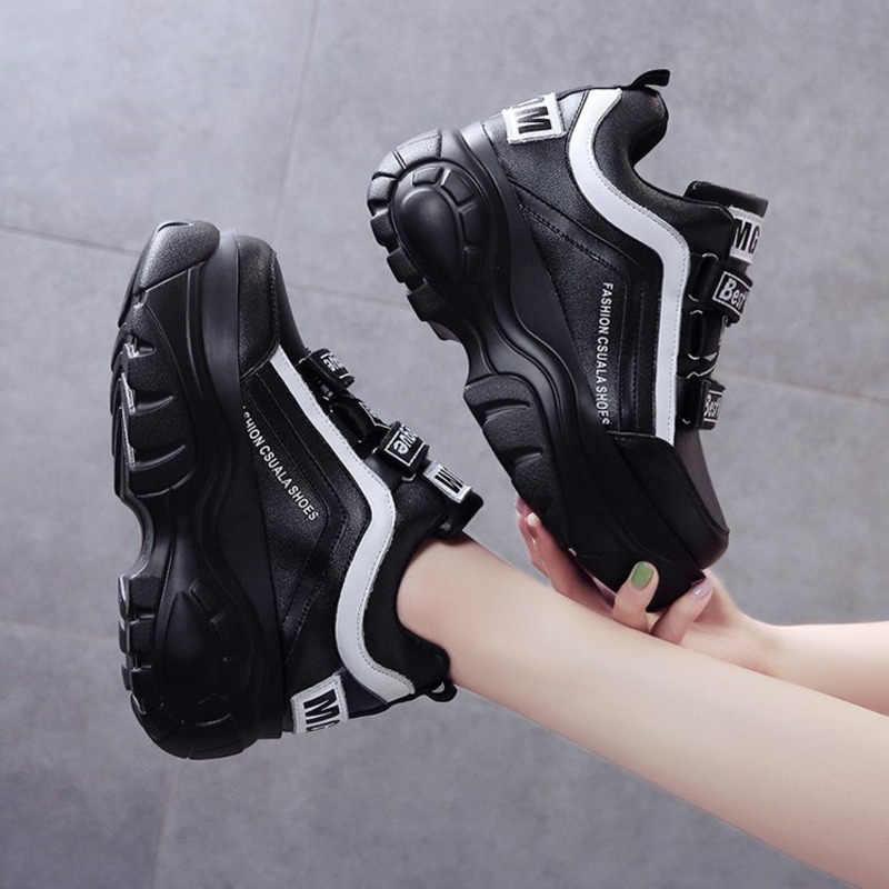 Thời Trang Chun Sneakers Nữ Dây Leo Nền Tảng Giày Giày Đế Xuồng Nữ 7Cm Đế Giày Rổ Femme