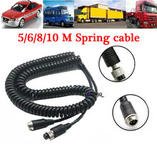 4 pinos carro veículo caminhão ônibus câmera de visão traseira vídeo cabo extensão mola cabo 5/6/8/10 m para universal cabo aviação