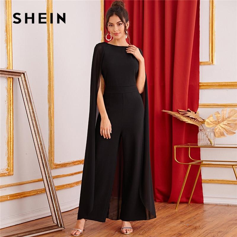 SHEIN Black Keyhole Back Cape Palazzo Maxi Jumpsuit Women Autumn Sleeveless Wide Leg Solid Abaya Party Glamorous Jumpsuits 1