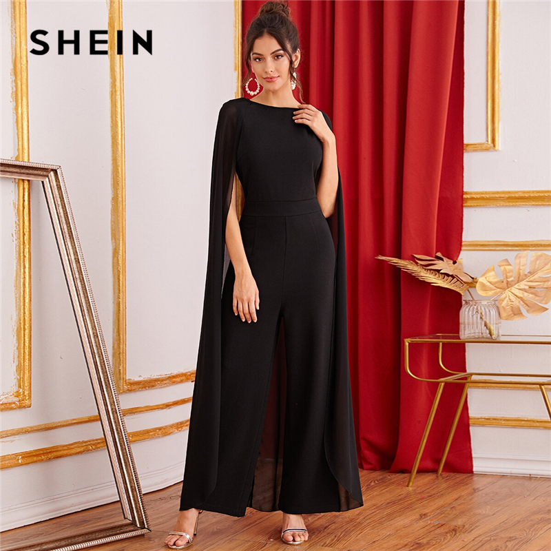 SHEIN Black Keyhole Back Cape Palazzo Maxi   Jumpsuit   Women Autumn Sleeveless Wide Leg Solid Abaya Party Glamorous   Jumpsuits