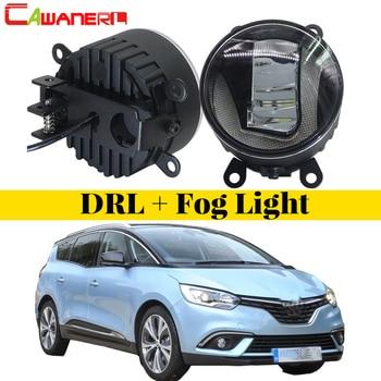 Cawanerl 1 Pair Car LED Bulb Fog Light DRL Daytime Running Lamp White 12V Accessories For Renault Grand Scenic 2004-2015