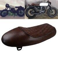 Brown Motorcycle Cafe Racer Seat Custom Vintage Hump Saddle Flat Pan Retro Seat For Honda CB CL Suzuki GS Yamaha XJ KTM BMW Etc