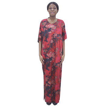 2020 Newest African Dresses For Women Silk Quality Half Sleeve Blood Red Dashiki Print Dress