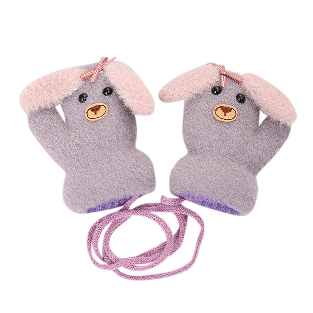 Детские теплые трикотажные зимние перчатки с милыми мультяшными животными для мальчиков и девочек, милые Мультяшные перчатки для детей, теплые зимние перчатки - Цвет: A