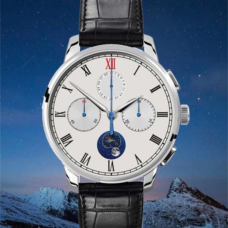 2019 chegada nova piloto cronógrafo relógio masculino st1908 moonphase calendário safira vidro relógio de pulso mecânico aidophedo