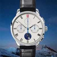 2019 neue Ankunft Pilot Chronograph Uhr Männer Seagull st1908 Mondphase Kalender Saphirglas Mechanische Armbanduhr Aidophedo