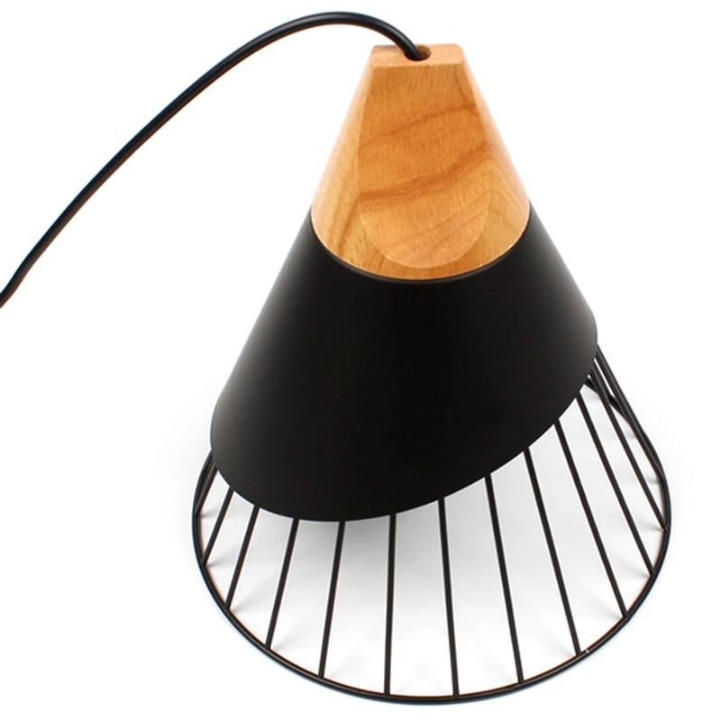 Nordic Pendant Light Wooden Pendant Lamp For Home Lighting Modern Hanging Lamp Lampshade Led Bulb Kitchen Light Black