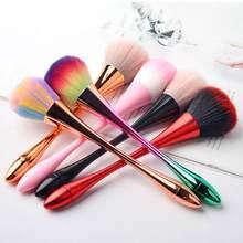 1Pc Nail Art coloré doux cheveux ongles brosse de nettoyage pour UV Gel ongles polissage poussière nettoyant poudre maquillage brosse manucure outil