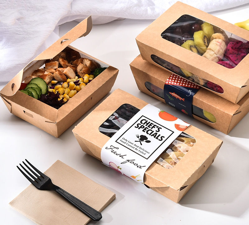 Free Shipping - Catering Supplies, Kraft Paper Take Out Food Lunch Boxes - 760ml To Go Containers For Restaurants, 10/Pack