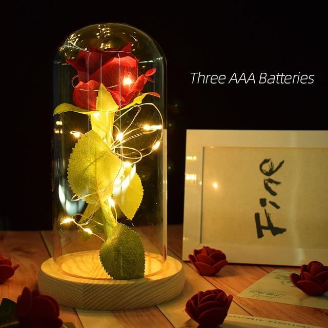 Beautiful Battery Powered LED Rose Glass Bottle String Light Desk Lamp Romantic Valentine's Day Birthday Gift Home Decoration 5