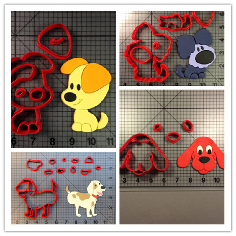 LUC Cartoon Clifford the big red dog Cookie Cutter Fondant Custom Made 3D Printed Cupcake Top Set Cake Stamp