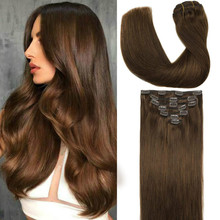 Clip-In-Extensions Human-Hair Straight Natural Thick 120g 7pcs Blonde Bleach Ombre