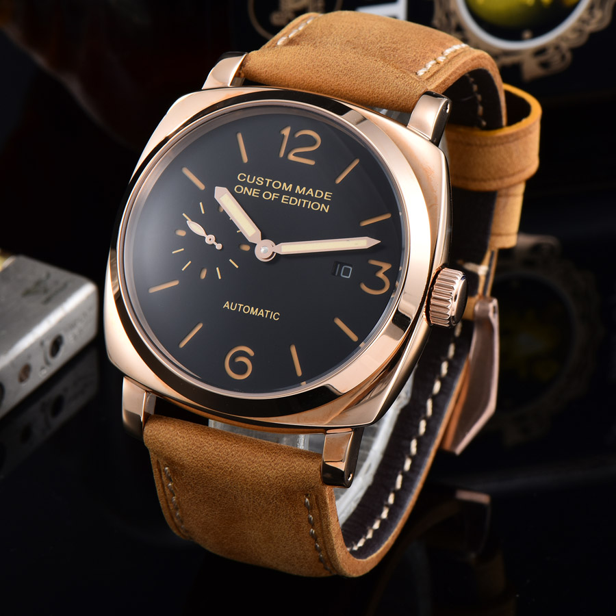 automatic mechanical watch watch men Luminous waterproof date 316L Solid stainless steel  pvd Leather 47MM NH21