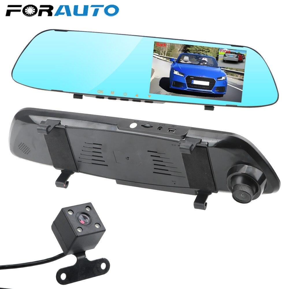 Видеорегистратор для автомобиля, автомобильный видеорегистратор, видеорегистратор с двухканальным зеркалом заднего вида, IPS-экран, ночное ...