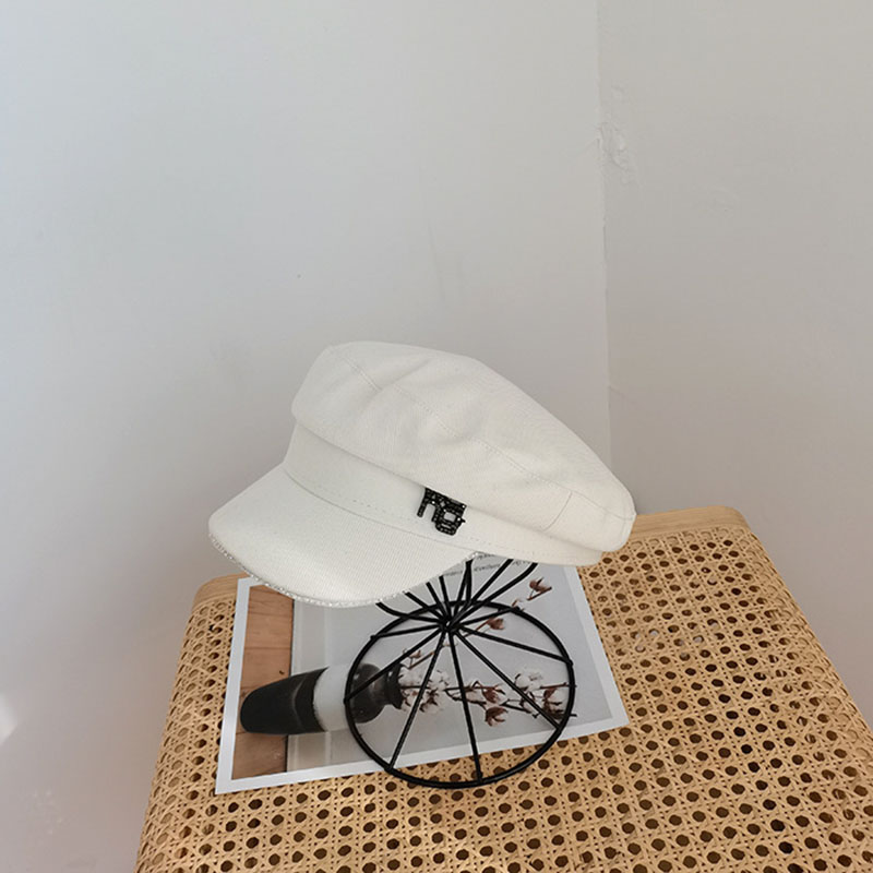 New spring and summer bright drill hat matching flat top hat fashion trend octagonal cap